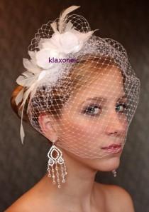 wedding photo - BIRDCAGE VEIL Ivory bridal veil. Wedding hair flowers. Flower fascinator. Bridal headpiece Wedding hair flowers Feather flowers