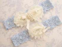 wedding photo - Blue Garter- Wedding Garter Set Blue Lace Toss Garter included  Ivory with Rhinestones and Pearls  Custom Wedding colors