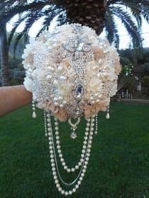 wedding photo - CASCADING JEWELED BOUQUET- Glamorous Custom Draping Brides Wedding Day Bouquet, Custom, Cascading Bouquet, Jeweled Bouquet