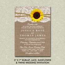 "wedding photo - 5"" x 7"" Rustic Burlap, Lace, Sunflower & Twine Wedding Invitation Digital File"