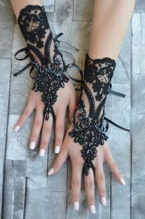 wedding photo - black wedding glove, Bridal Glove, black lace cuffs, lace gloves, Fingerless Gloves, bridal gloves  Free Ship, gloves, black gloves,
