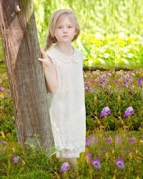 wedding photo - Boho Rustic Country Ivory Lace Flower Girl Dress