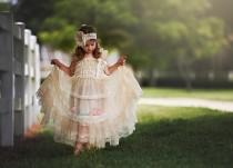wedding photo - Champagne Lace Rustic Flower Girl Dress