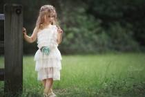 wedding photo - Ivory Lace Rustic Flower Girl Dress with Mint and Burlap Flowers Sash
