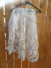 wedding photo - OOAK Vintage off white late 60's lace wedding veil with silk rose