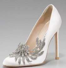 wedding photo - Swan Embellished Satin Pump, White