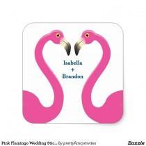 wedding photo - Pink Flamingo Wedding Sticker