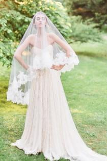 wedding photo - Cassia Chantilly Lace Fingertip Veil, Chantilly Lace Veil, Fingertip Veil, Double Layer Veil, Lace Veil, Veil with Blusher