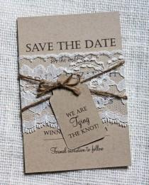 wedding photo - Lace Wedding Save The Date, Save The Dates, Rustic Wedding, Shabby Chic Wedding, Vintage, Lace Wedding Invitation, Rustic Lace, Kraft Paper