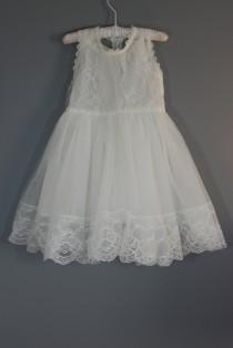 wedding photo - Caroline vintage white flower girl dress,girl dress, baby dress, lace dress, vintage lace flower girl dress, lace dress, baptism dress