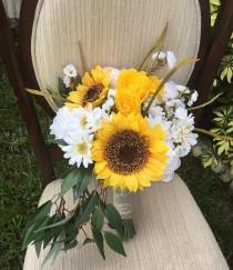 wedding photo - Silk Rustic Wedding Bouquet,  SUNFLOWER WEDDING BOUQUET,  Wedding, Bouquet, Wildflower Bouquet, Keepsake Wedding Bouquet