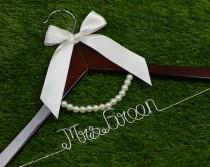 wedding photo - Wedding Hanger, lace bow wire name Hanger,  Personalized Custom Bridal Hanger, Bridal Hanger, Bride name hanger