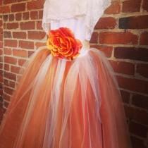 wedding photo - Burnt Orange Flower Girl Tutu Dress With Lace Collar Fall Weddings