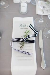 wedding photo - Reception Menu Tied With Black And White Striped Ribbon