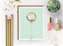 """wedding photo - 6 Scratch-off """"Will You Be My Bridesmaid / Maid of Honor?"""" Write-in Invitations // Mint and Gold Foil Balloon // Set of 6"""
