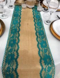 "wedding photo - Burlap Table Runner With Teal/Jade Lace, 5ft-10ft X 10"" Wide, Peacock Wedding Decor,Weddings, Table Top Overlay,Etsy Finds, Rustic Weddings"
