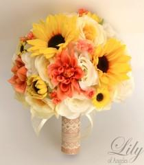 "wedding photo - 17 Piece Package Wedding Bridal Bouquet Silk Flowers Bouquets CORAL YELLOW SUNFLOWER Ivory Orange Rustic Burlap Lace ""Lily of Angeles ORYE06"