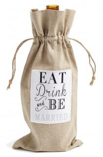 wedding photo - Levtex 'Eat, Drink And Be Married' Wine Bag
