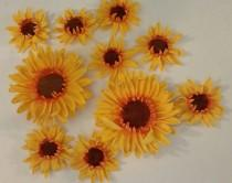 wedding photo - 12 Edible SUNFLOWER gum paste/fondant / sugar flowers / cake decorations or cupcake topper