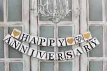wedding photo - ANNIVERSARY SIGNS - Anniversary Party Banners -  Rustic Decorations - Wedding anniversary Signs