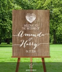 wedding photo - Rustic Wedding Welcome Sign DIY // Welcome To Our Wedding // Rustic Wood Sign, White Calligraphy Printable PDF ▷ Personalized Sign
