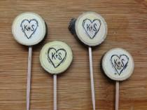 wedding photo - Rustic Wedding Cupcake Toppers Custom Initials Hearts Tree Slice / Bridal Shower Party Picks / Wedding Decor / Wood Decor / Cupcake Picks
