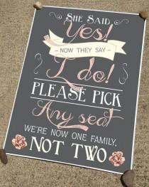 wedding photo - Rustic Chalkboard-Style Wedding Ceremony Or Reception Sign In Any Size