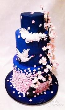 wedding photo - Oriental/cherry Blossom Themed Wedding Cake.