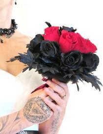 wedding photo - Rockabilly Bouquet  , Red and Black , Bridal Gothic Bouquet , Wedding Bouquet , Alternative bouquet  with Golden Spider