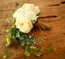 wedding photo - Rustic Peony Wedding Bouquet and Ivory Cascade