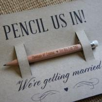 wedding photo - Wooden Save The Dates Pencils Short Round (Golf)
