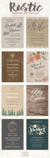 wedding photo - Rustic  Wedding Invitations
