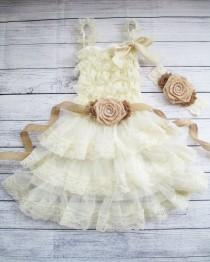 wedding photo - Burlap Rolled Lace Flower Girl Dress & Sash Set, Country Chic Dress,Burlap Flower Girl,Country Wedding, Rustic Flower Girl Dresses