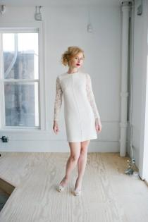wedding photo - Patsy Wedding Dress; Handmade Bridal Dress, modern sheath in silk with beaded lace sleeves