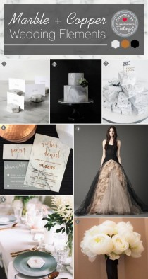 wedding photo - Marble Meets Black And Copper For A Modern Wedding!