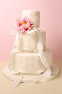 wedding photo - Three Tier Fondant Wedding Cake With Royal Icing Dots, Satin Ribbon And Sugar Peony. Cakebox Special Occasion Cakes