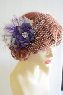 wedding photo - Bridal Purple Hair Flower with Birdcage veil, Birdcage veil with hair flower, Purple flower with feathers, Side pouf birdcage veil, Vintage