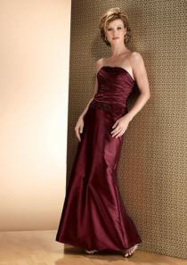 wedding photo - Strapless Jacket Burgundy Sleeveless Ruched Satin Floor Length