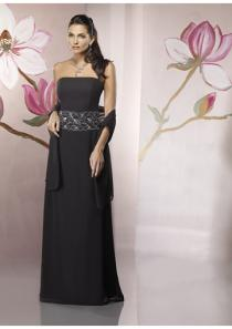 wedding photo - Strapless Black Shawl Sleeveless Appliques Ruched Chiffon Floor Length