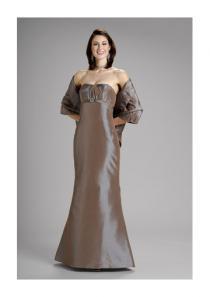 wedding photo - Strapless Shawl Sleeveless Satin Floor Length