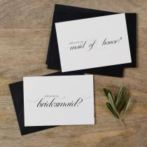 wedding photo - 4 x Will You be My Bridesmaid Card, Bridesmaid Proposal, Maid of Honor Card, Will You Be My Maid of Honor, Bridesmaid Card, Bridal Cards, K2