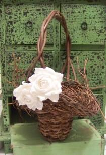 wedding photo - Rustic Flower Girl's Basket with Paper Roses-in Different Colors