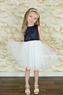 wedding photo - Navy Blue & White Sequin Dress, flower girl dress, Princess Dress, Birthday Dress, Sparkle dress, girls dresses, beach wedding, nautical