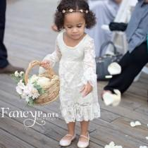 wedding photo - Flower Girl Dress - Boho Flower Girl-  Ivory Flower girl dress - Lace flower girl dresses- Long sleeve lace dress- lace dress, Toddler Dress