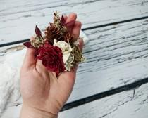 wedding photo - Cedar rose pine cone rustic burgundy gold wedding Rustic BROOCH CORSAGE bridesmaids Sola Flower limonium winter fall autumn wedding custom