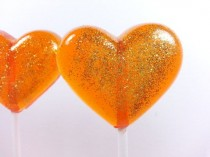 wedding photo - Heart Lollipops, Orange Wedding Favor, Party Favors, Autumn Wedding, Heart Candy, Lollipops, Sweet Caroline Confections-Set Of Six