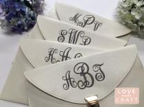wedding photo - Set of 6 - Bridesmaid Monogram Clutches Gifts, Bridal Shower Parties, Wedding Purse, Sorority Gifts
