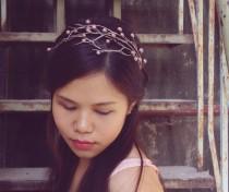 wedding photo - pink silver branch headband,cherry blossom headband, made by polymner clay sweet girl