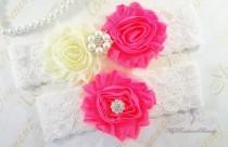 wedding photo - Garters, Wedding Garter, Garter, Bridal Garter, Chiffon Rosette Ivory Neon Pink Garter, Sexy Garter, Handmade Garter, Garter Belt GTF0026NP