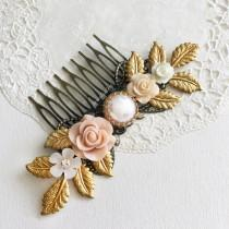 wedding photo - Blush Flower Pastel Wedding Comb Soft Pink Cream Hair Slide Gold Leaf Comb Elegant Bridesmaid Comb Romantic Maid of Honor Hair Pin Gift